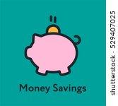 money savings piggy bank... | Shutterstock .eps vector #529407025