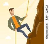 caucasian businessman climbing... | Shutterstock .eps vector #529412602