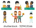 beer fans toasting and clinking ... | Shutterstock .eps vector #529413166