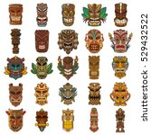colorful tiki head design set | Shutterstock .eps vector #529432522