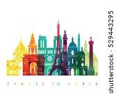 paris detailed skyline. travel... | Shutterstock .eps vector #529443295