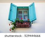 window with blue turquoise... | Shutterstock . vector #529444666