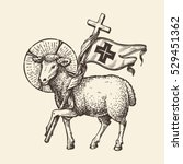 lamb or sheep holding cross.... | Shutterstock .eps vector #529451362