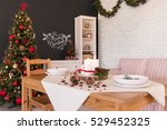 christmas design of dining hall ... | Shutterstock . vector #529452325