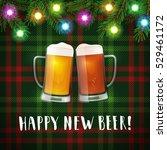 happy new beer mugs poster.... | Shutterstock .eps vector #529461172