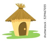 Village Tiki Hut Icon. Cartoon...