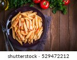 penne pasta dish with chicken... | Shutterstock . vector #529472212