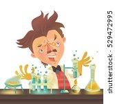 bushy haired mad professor in... | Shutterstock .eps vector #529472995