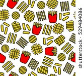 fries icons seamless pattern | Shutterstock .eps vector #529484086
