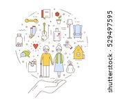 the flat concept of social... | Shutterstock .eps vector #529497595