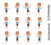 set of smart and cute character ...   Shutterstock .eps vector #529498486