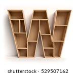 shelf font 3d rendering letter w | Shutterstock . vector #529507162
