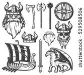 Black Vintage Viking Icon Set...