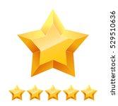 3d golden yellow stars isolated ... | Shutterstock .eps vector #529510636