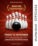 bowling tournament poster. 3d... | Shutterstock .eps vector #529521616
