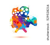 video camera splash paint icon | Shutterstock .eps vector #529528216