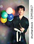 Happy samurai with balloons. Humour and queer concept. - stock photo