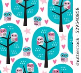 seamless owls on a tree pattern ... | Shutterstock .eps vector #529540858