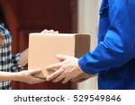 male deliverer giving box to... | Shutterstock . vector #529549846