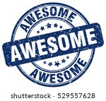 awesome. stamp. blue round... | Shutterstock .eps vector #529557628