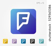 colored icon of f symbol with... | Shutterstock .eps vector #529565386