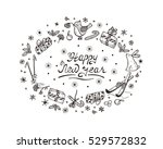 happy new year card with hand...   Shutterstock .eps vector #529572832