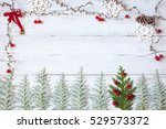 christmas wooden background... | Shutterstock . vector #529573372