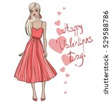 fashion girl in red dress.... | Shutterstock .eps vector #529588786