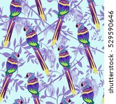 exotic birds  seamless pattern  ... | Shutterstock .eps vector #529590646