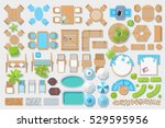 Icons set. Outdoor furniture and patio items. (top view) Isolated Vector Illustration. Tables, benches, chairs, sunbeds, paths, pool, swings, umbrellas, plants. (view from above). Furniture store. | Shutterstock vector #529595956