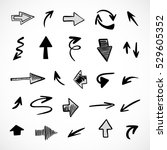 hand drawn arrows  vector set | Shutterstock .eps vector #529605352