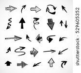 hand drawn arrows  vector set | Shutterstock .eps vector #529605352