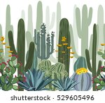 seamless pattern with cactus.... | Shutterstock .eps vector #529605496