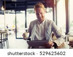 busy businessman on coffee... | Shutterstock . vector #529625602