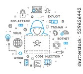 concept of hacking and cyber... | Shutterstock . vector #529626442