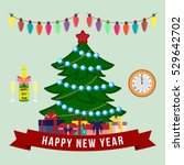 new year greeting card. flat... | Shutterstock .eps vector #529642702