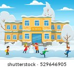 winter landscape  the school... | Shutterstock .eps vector #529646905