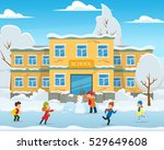 winter landscape  the school... | Shutterstock .eps vector #529649608