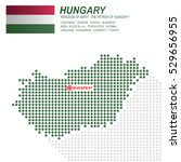 dot style of hungary map and... | Shutterstock .eps vector #529656955