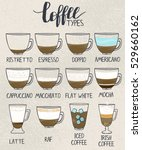 coffee types poster. set of... | Shutterstock .eps vector #529660162
