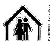 sticker of house shape with... | Shutterstock .eps vector #529660372