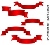 set of red decorative ribbons... | Shutterstock .eps vector #529665505