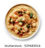 bowl of homemade hummus...   Shutterstock . vector #529683016