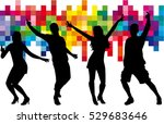 dancing people silhouettes.... | Shutterstock .eps vector #529683646