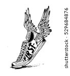 vintage handmade  shoes wing... | Shutterstock .eps vector #529684876