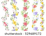 floral set of seamless borders...