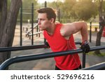 fit man workout out arms on... | Shutterstock . vector #529696216
