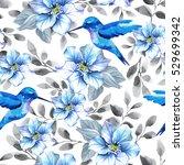 flower pattern with blue... | Shutterstock . vector #529699342
