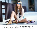funny stylish sexy smiling... | Shutterstock . vector #529702915