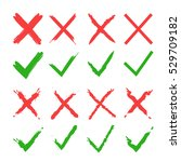 red cross and green tick vector ... | Shutterstock .eps vector #529709182